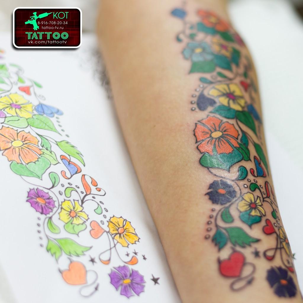 Тату Узоры (Цветные, цветочки), женские тату, Тату Солнечногорск